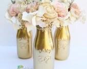 Gold Milk Bottles - Wedding Decor - Centerpiece - Party - Vase