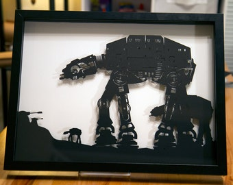 Star Wars AT AT Walker on Hoth // silhouette hand cut paper craft shadow box 3D framed wall art