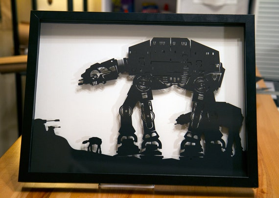 AT-AT Walker on Hoth - Star Wars silhouette handcut paper craft