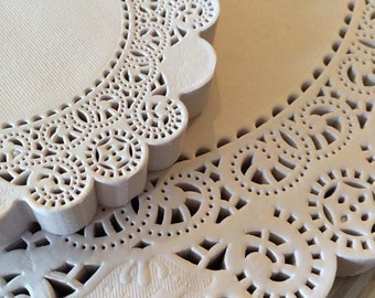 "Paper Doilies - 50 French Lace Round Paper Doilies - 10 inch white doily - 10""  Large"