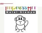 HUGE 40% Off SALE Bongo MONKEY animal Stick Figure - 6mm - New Design -  metal jewelry design stamp - by Impressart