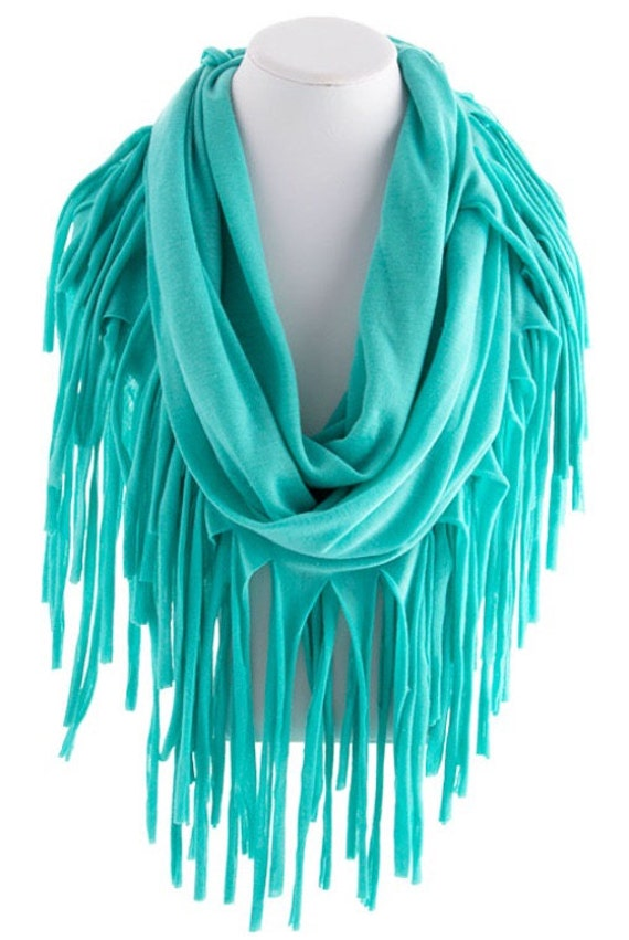 mint fringed infinity scarf loop scarf circle by scarvesscene