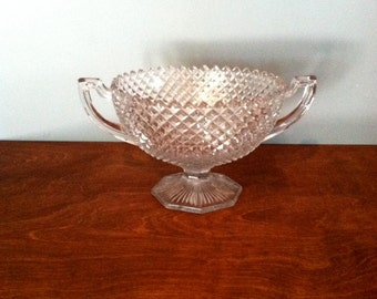 Vintage Glass Double Handled Pedestal Vase