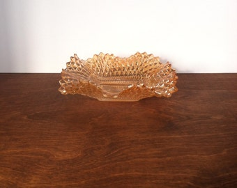 Vintage Peach Carnival Glass Candy Dish