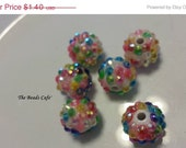 ON SALE 12mm Rainbow  Resin acrylic beads