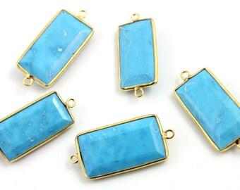 Turquoise Bezel Connector Gemstone Component, Gold Vermeil ,  1 Piece, (TUR/CNT/101)