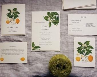 Lemon Wedding Invitation Vintage Lemon Plant Wedding Stationery Digital File or Printed Invitations