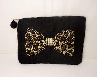 Black Wool Felt Pouch with Leopard Bow Tie