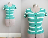 1970s Sweater Green Striped Light Sweater Buttons Short Sleeves / Small