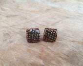 Brown and Charcoal Square Grid Stud Earrings