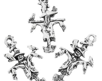 """10 Pieces Antique Silver Small Scarecrow Charms 25mm x 15mm (1""""x 5/8"""")"""