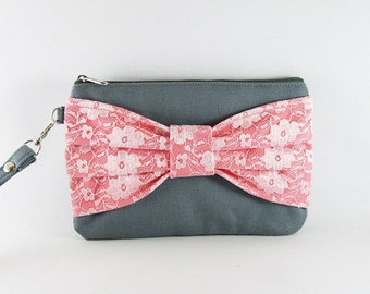 SUPER SALE - Gray with Peach Lace Bow Clutch - Bridal Clutches, Bridesmaid Wristlet, Wedding Gift, Cosmetic Bag,Zipper Pouch - Made To Order