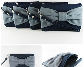 SUPER SALE - Set of 5 Bridesmaids Gift / Navy with Gray Bow Clutches - Made To Order