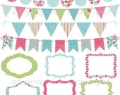 Shabby Chic Bunting and Tags / Frames - digital clipart for cards, photography, scrapbooking, invites, general craft work