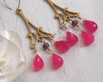 Bright Pink Jade Art Deco Chandelier Earrings