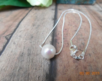 Single Pearl Sterling Silver Necklace, Single Pearl Necklace,Floating Pearl Necklace, Bridal Pearl Necklace