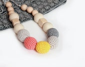 Bright Nursing Necklace-Babywearing necklace for Mother and child-Breastfeeding Necklace-Teething Necklace for Baby and Mom- Wooden Teether