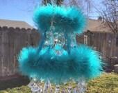 Turquoise Crystal Mobile Princess Marabou Chandelier Nursery Sun Catcher