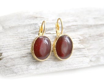Matte Gold Plated Dark Cherry Jade Earrings