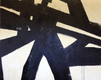 """30""""x40"""" Abstract Black and White Urban/Art"""