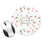 Sparkle Confetti Circle Mouse Pad - Mouse Mat Desk - Quote Glitter effect polka dot spots - NCA