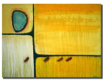 """ORIGINAL ABSTRACT PAINTING 18in. X 24in. Yellow / Turquoise / Black Lines / Pastel / """"Sometime Today"""""""