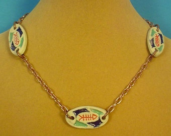 """Get a little Primitive with this 17"""" copper and pottery necklace! - N272"""