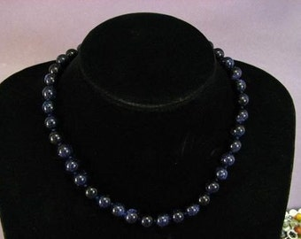 Necklace Blue Gold Stone 10mm Round Beads NSBG5429