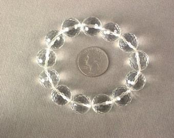 Bracelet Clear Quartz Large 16mm Facet Beads Stretch BSQW0314
