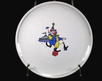 "Vintage Circus Clown Plate, 9"" Cake Plate, Conrad Crafters, Circus Tent Design Serving Dish, Seal with Ball Plate"