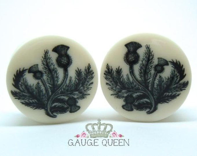 "Black Thistle Plugs / Gauges. 4g /5mm, 2g /6.5mm, 0g /8mm, 00g /10mm, 1/2"" /12.5mm, 9/16"" /14mm, 5/8"" /16mm, 3/4"" /19mm,7/8"" /22mm,1"" /25mm"