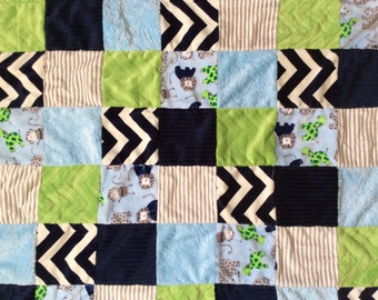 Minky Patchwork Blanket Zoo Animals