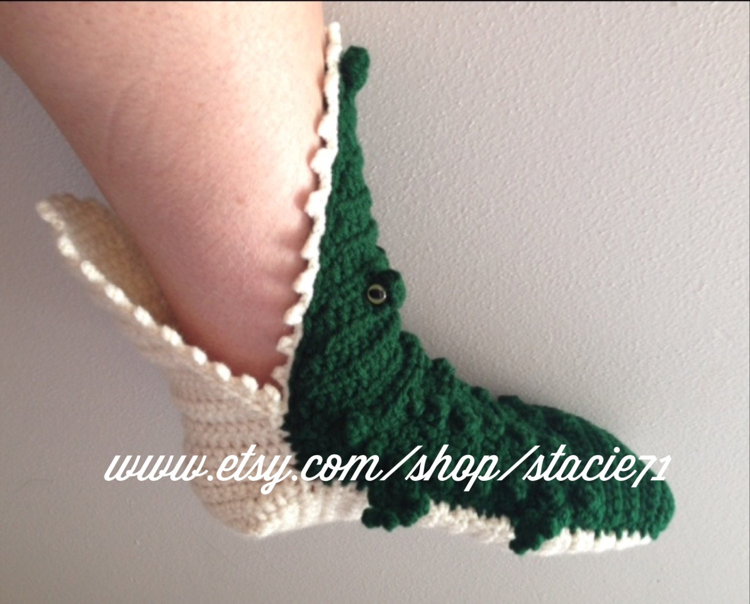 Free crochet pattern for crocodile slippers manet for crocheted alligator slipper socks adult made to order by free crochet pattern bankloansurffo Choice Image
