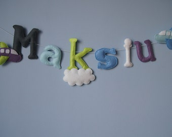 Name Garland - Personalized - Felt Name - Light Felt Name - plane