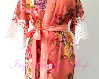 Coral Blooms add on with sleeve lace Bridesmaids Robe Kimono Crossover Robe Bridesmaids gifts Getting ready robes Floral Bridal Party Robes