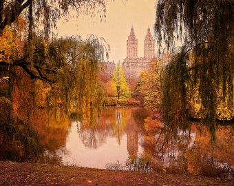 New York City Photo, Central Park Photograph, Autumn Foliage, Lake Picture, NYC Photography, Dreamy Vintage Wall Art Sepia Artwork Beige Red