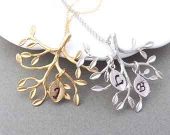 Family Tree Necklace,Tree pendant,Tree charm necklace, initial charm-Gift for birthday,Mother's Day gifts