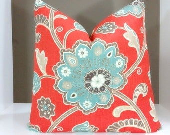 Decorative Throw Pillow Cover Red Floral  16x16 18x18 20x20 22x22 24x24 Jacobean Pillow Cover