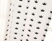 Yard - Black Crown in White 100% Cotton by Gage - Fikashop