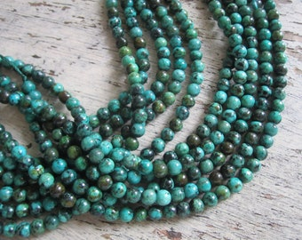 "African turquoise 4mm beads - 16"" strand of African turquoise, turquoise beads, small turquoise beads, turquoise jasper beads - one strand"