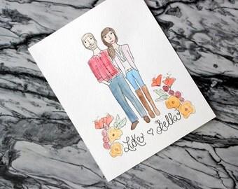 "Custom Illustration Portrait 8x10""- Engagement Gift - Shower Gift - Watercolor Portrait - Custom Illustration"