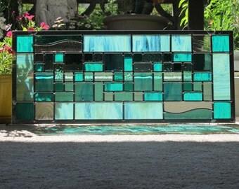 Seafoam Mint Green Stained Glass Modern Window