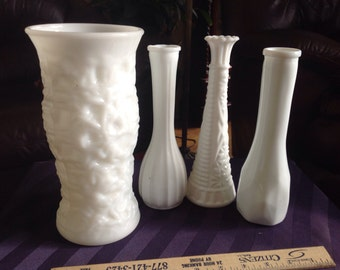 Vintage Milk a Glass Vases