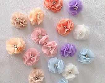 New Pink Chiffon Hair Clip by Isabella Couture - Crystal hair clip - Flower hair clip - ALL COLORS