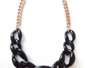 Black Statement Necklace rose gold necklace statement jewelry chunky link COPACABANA