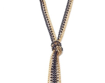 Black Gold Statement Necklace chain statement jewelry chain tassel knotted lariat XO