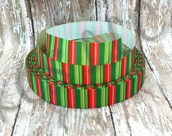 7/8 Grosgrain Christmas Stripe Ribbon 2 yards