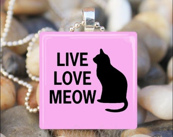 LIVE LOVE MEOW Cat Lover Meow Glass Tile Pendant Necklace Keyring