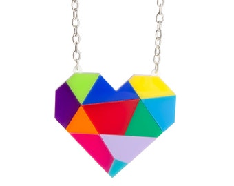 Abstract Heart necklace - laser cut acrylic