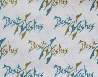 Vintage Dennison Occasional Gift Wrap - Wrapping Paper - Best Wishes WISH BONES - 1950s